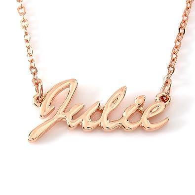 74e3b2bc3e741 Amazon.com: Zacria Personalized Name Necklace Julie 18K Rose Gold ...