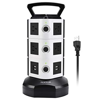 JACKYLED 10 power ports and 4 USB Ports surge protector