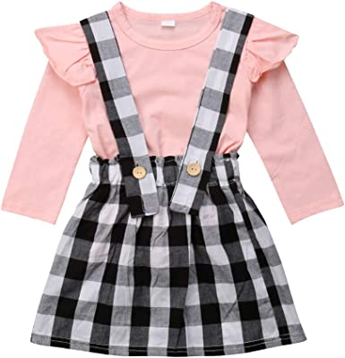 Red Button Suspenders Dress 2Pcs Set Toddler Baby Girls Long Sleeve Basic White T-Shirt Top