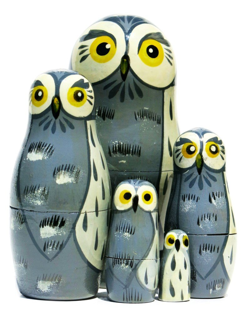 Great Grey Owls 5-Piece Russian Nesting Doll Stacking Matryoshka Set by GreatRussianGifts
