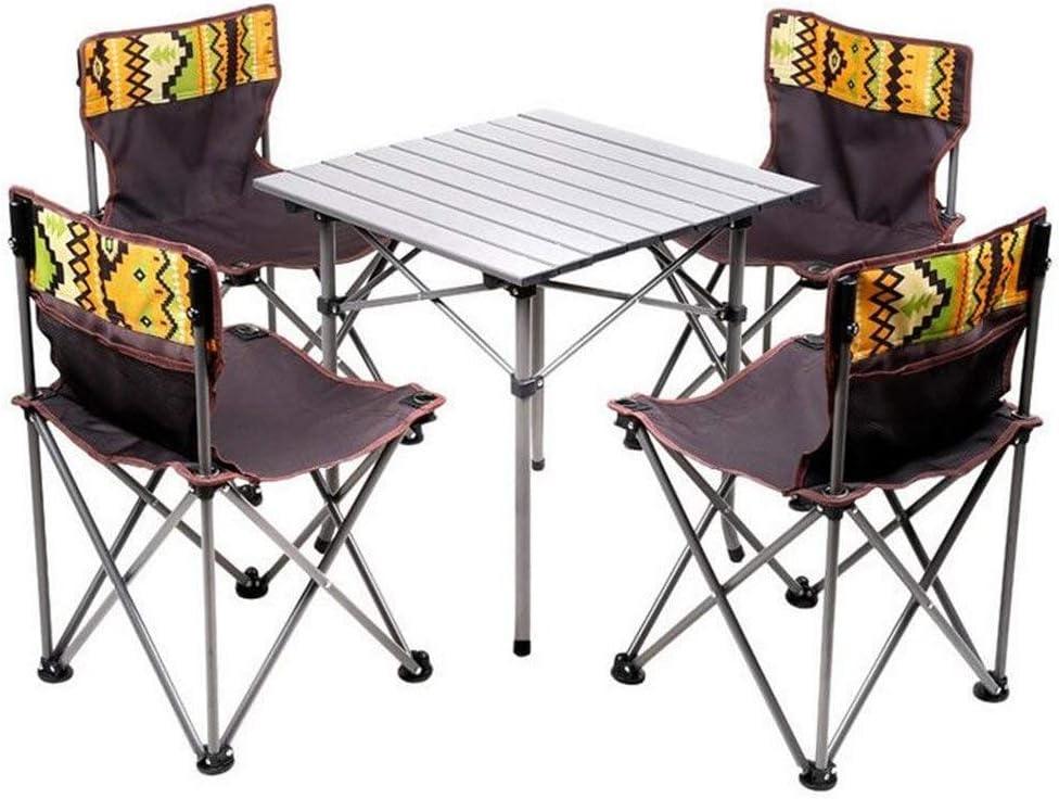 RUIMA Juego portátil de Mesa Plegable para niños y 4 sillas, Conjunto Compacto para Uso en Interiores, liviano, de Acero para Barbacoa, Camping, Pesca, Viajes, Senderismo, jardín, Playa