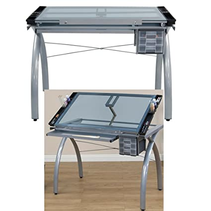 Amazoncom Mechanical Drafting Table With Tempered Glass Top