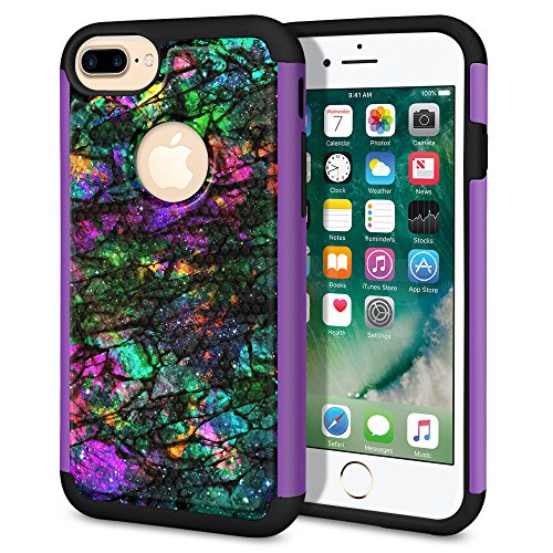 WIRESTER Case Compatible with Apple iPhone 7 Plus 2016 / iPhone 8 Plus 2017, Dual Layer Football Skin Hybrid Protector Case Cover TPU for iPhone 7 Plus / 8 Plus - Purple Green Galaxy Marble/Purple