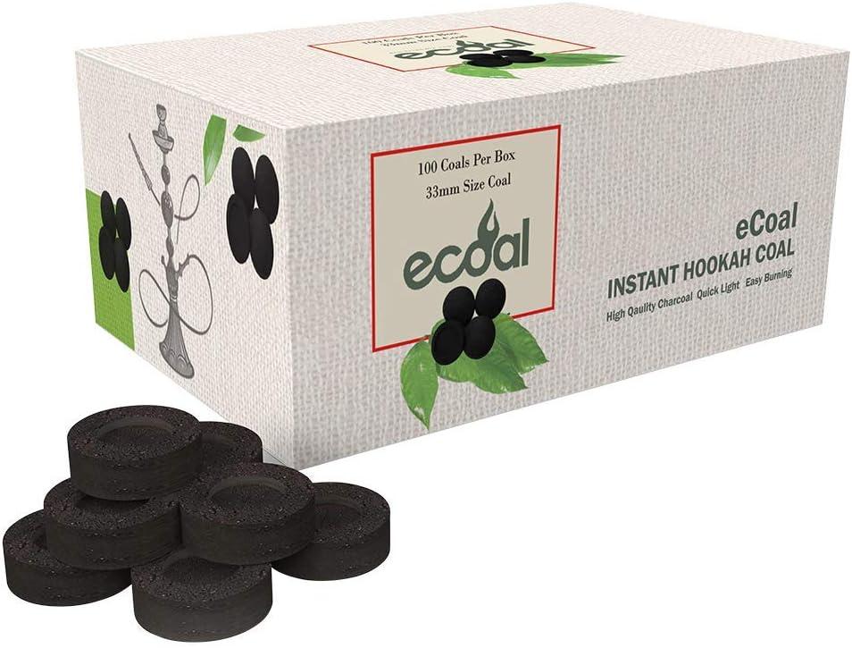 eCoal Premium Instant Hookah Coal –100 Coals Per Box,10 Rolls of 100 Round Tablets - Size 33MM Round Charcoal Briquettes - Fast Burning, Long Lasting
