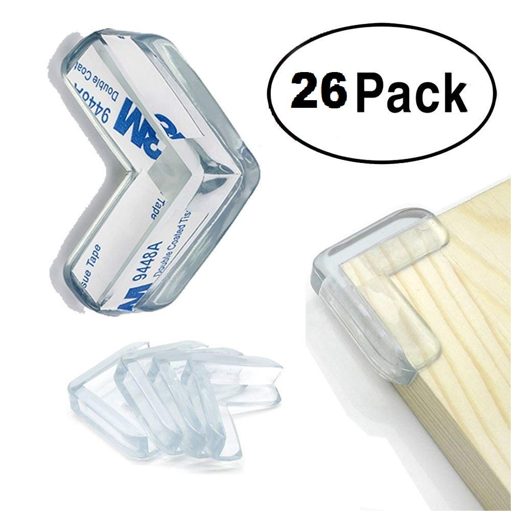 Clear Corner Protectors (26 Pack), High Resistant Adhesive Gel, Best Baby Proof Corner Guards | Stop Child Head Injuries | Tables, Furniture & Sharp Corners Baby Proofing