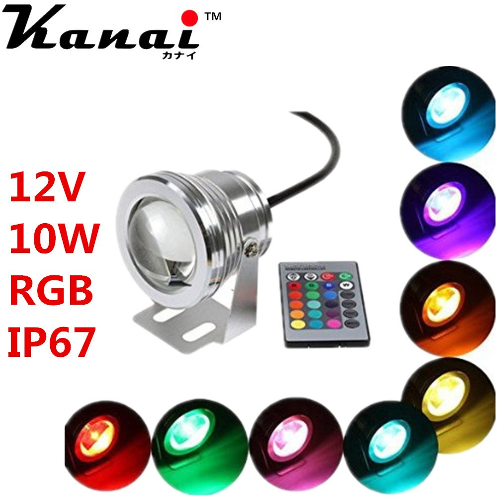 Black material : 10W 12V 220V underwater RGB Led Light Waterproof IP68 fountain pool Lamp flood light whith 24key IR Remote controller