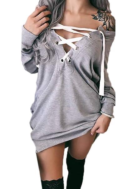 Otoño Invierno Mujer Sudaderas Vestido Largas Jerséis Pulóver Top Túnicas Jersey Moda Manga Larga Vestido de Suéter Sweatshirt Mini Vestidos de Partido: ...
