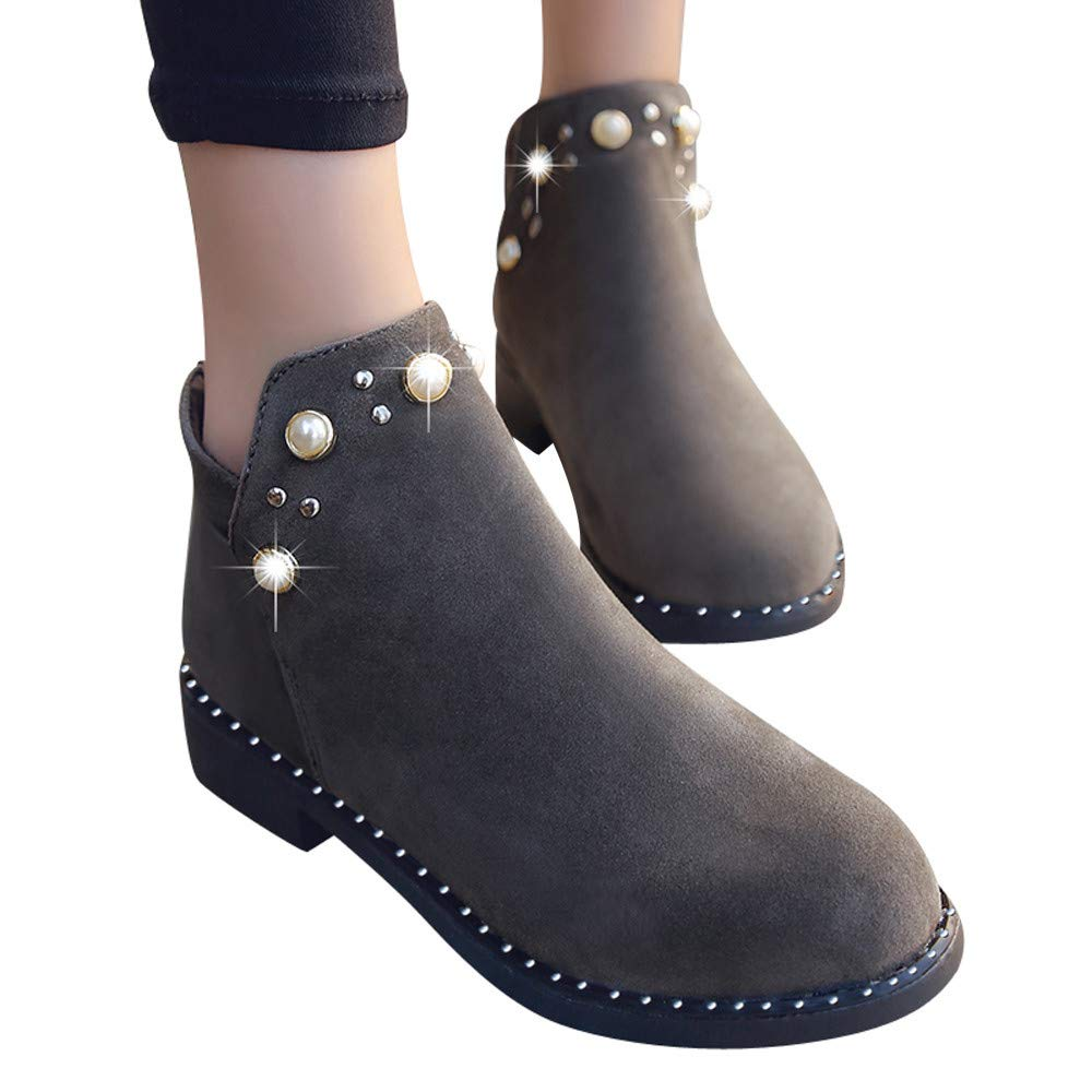 Boots For Women,HOT SALE !! Farjing Vintage Boot Pearl Shoes Martain Boots Suede Flat Ankle Boots Zipper Boot(US:5.5,Gray )