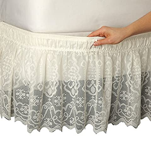 Lace Trimmed Elastic Bed Wrap, Easy Fit, Dust Ruffle Bedskirt, Ivory, Queen/King