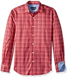 BUGATCHI Men's Cotton Shaped Fit Regular Placket Shirt, Ruby, XXL