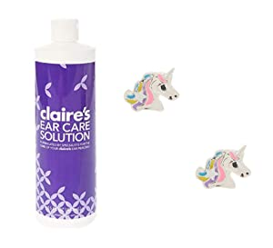Claire's Ear Care Solution and Unicorn Stud Earrings for Girls, My First Earrings Set