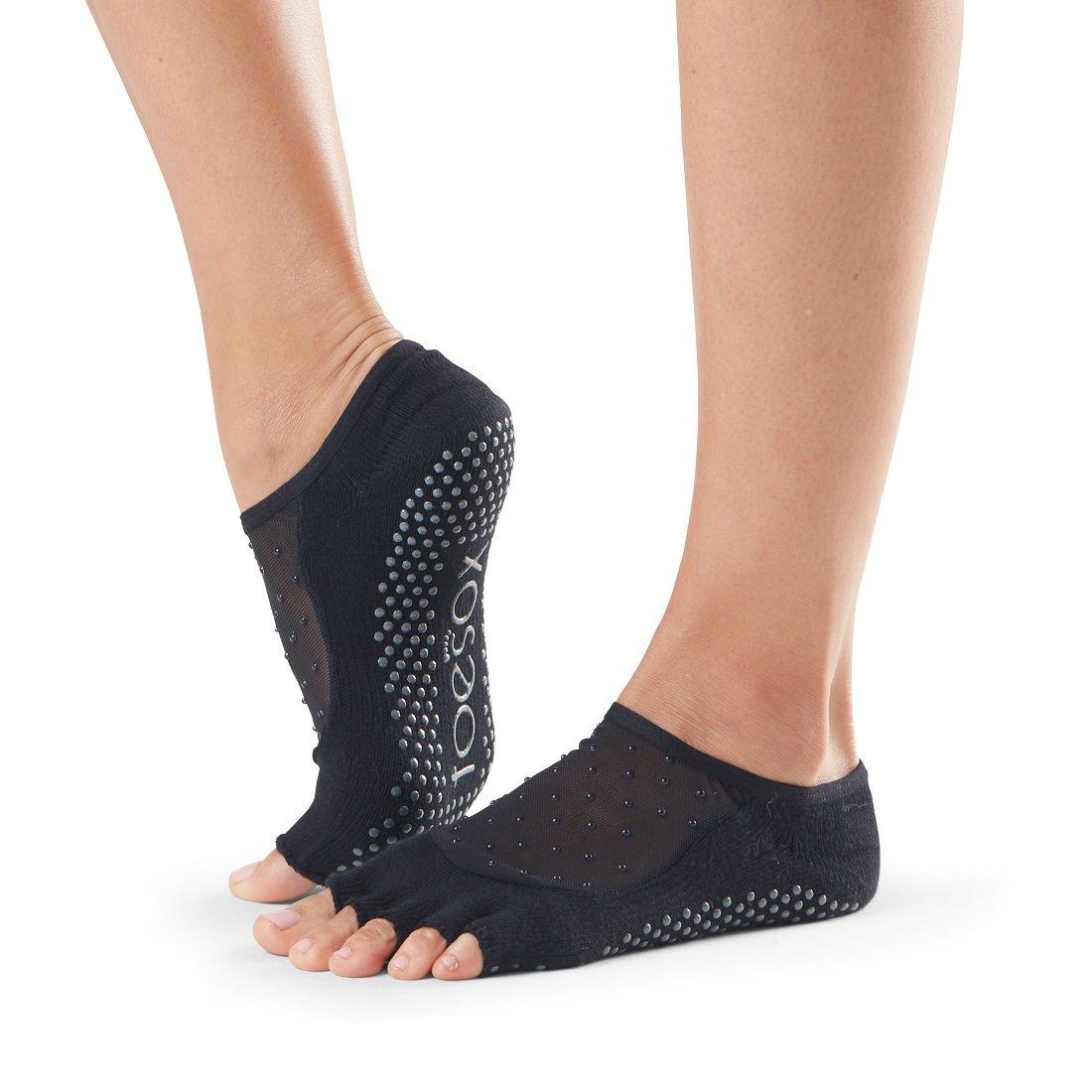 Toesox Grip Pilates Barre Socks - Non Slip Luna Half Toe for Yoga & Ballet