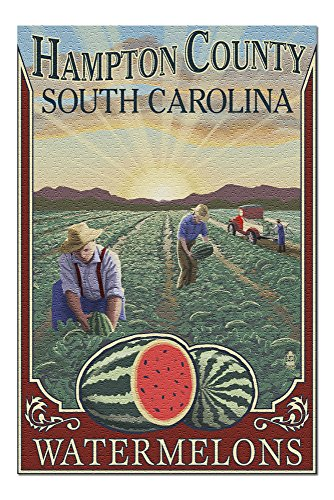 South Bedroom Hampton - Hampton County, South Carolina - Watermelon Field (20x30 Premium 1000 Piece Jigsaw Puzzle, Made in USA!)