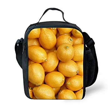 4242cba3d797 Amazon.com: LedBack Cute Fruit Lemon Print Lunch Bag for Kids Girls ...
