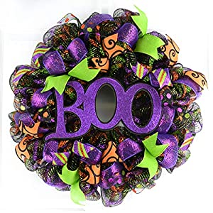 Boo Halloween Door Wreaths | Purple Boo Mesh Outdoor Wreath; Black Lime Green Orange 20