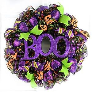 Boo Halloween Door Wreaths | Purple Boo Mesh Outdoor Wreath; Black Lime Green Orange 21