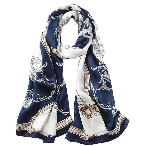LD Foulard Femme 100% Soie de Satin Écharpe Hypoallergénique Naturel 170    55cm (Bleu ab1e0daec94