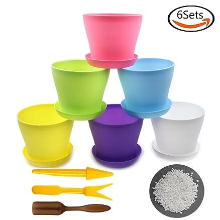 whonline 6 vasi da fiori tondo colorati di plastica con sottovasi ... - Vasi Di Plastica Colorati Per Piante