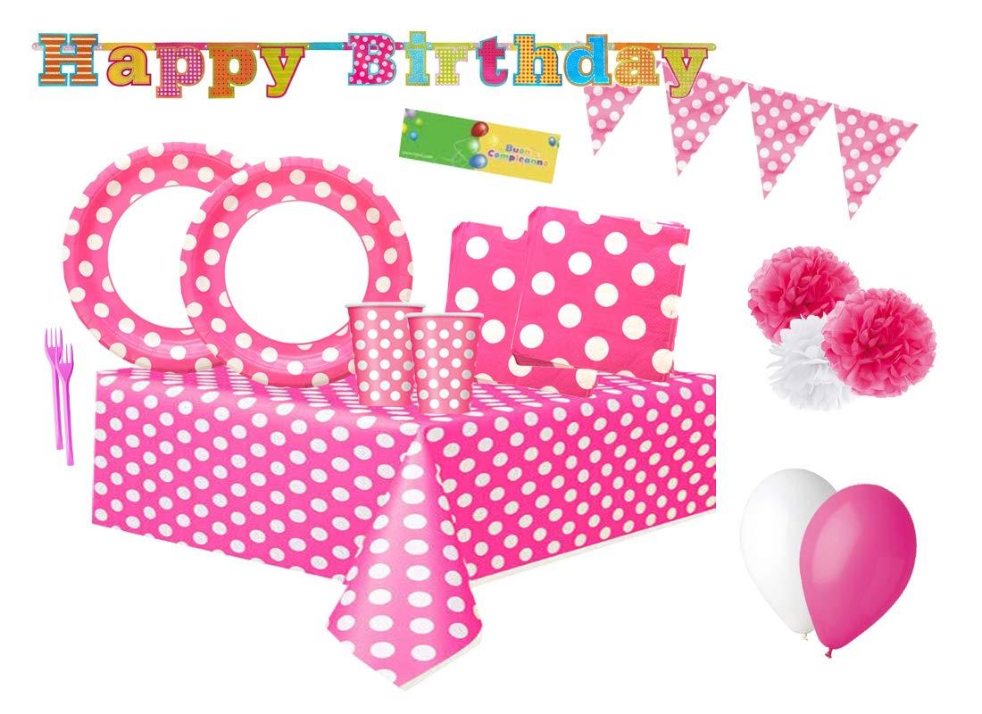 Irpot Kit n 64 Coordinato Festa Compleanno Pois Fucsia Unique