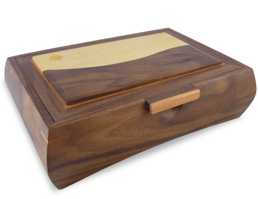 American Made Men's Valet Box, Walnut Wood with Contemporary Landscape Inlay, 12.25 x 8.5