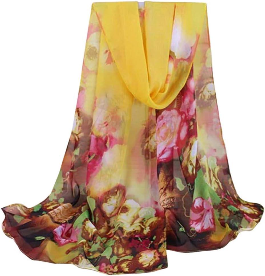ZHENSIR Frauen-Chiffon Schal-Langer weicher Strand-Schal-Blumendruck wickelt weibliche Schals und Stolen EIN