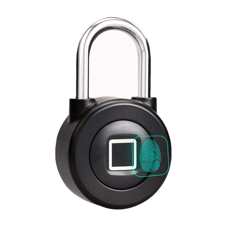 Fingerprint Padlock, Saibit Security Smart Biometric Lock Waterproof Keyless Padlock with Bluetooth Control for House Door, Fence, Backpack, Suitcase, Office, Bike etc