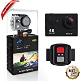 EpochAir 4K Action Camera Ultra HD Sports Waterproof Wifi DV Camcorder 12MP 170°Wide Angle 2 inch LCD Screen Action Camera with Rechargeable Battery /2.4G Remote/18 Mounting Kits -Black
