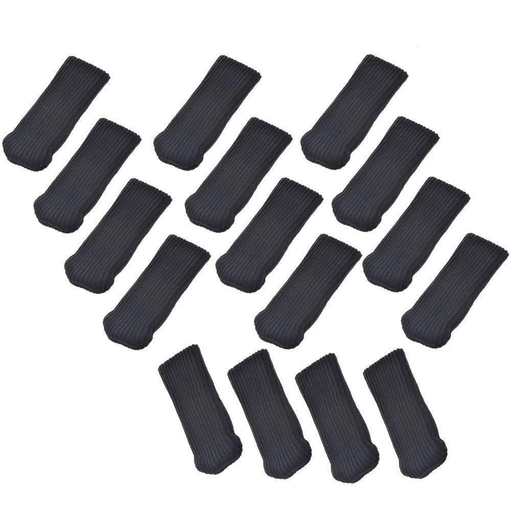 Allure Maek 32pcs Knitting Wool Furniture Socks/ Chair Leg Floor Protector (Black))