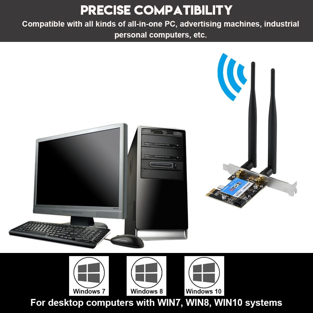 Industrial Personal Computers PCIE 433Mbps Dual Band 2.4G//5G Richer-R PCIE Network Card etc Advertising Machines Bluetooth 4.0 Express Wireless Network Card All-in-one PC