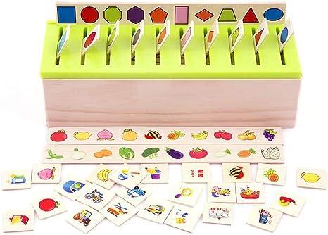 Montessori Clasificación sobre el Conocimiento de la caja de los niños Juguetes de madera temprana de juguetes educativos de aprendizaje Matching vida Categoría Cajas Rone: Amazon.es: Bebé