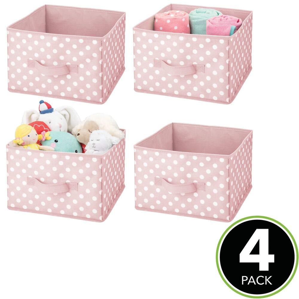 Organizadores de juguetes de lunares para dormitorios infantiles rosa//blanco mDesign Juego de 2 contenedores de tela Cajas organizadoras en fibra sint/ética para ropa de beb/é juguetes y m/ás