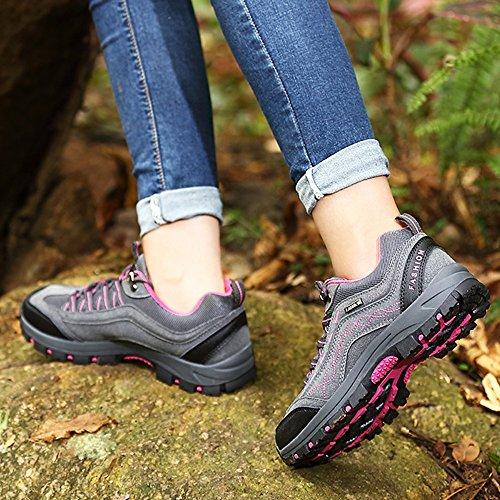 Scarpe da da Sneakers da Calzature Trekking Scarpe All'aperto Scarpe Donna Rosa Uomo Stivali da Grigio Escursionismo Escursionismo da Escursionismo Arrampicata KAMIXIN O1qXIw