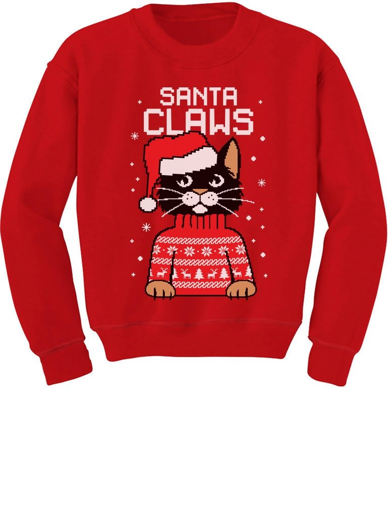 TeeStars - Santa Claws Cat Ugly Christmas Sweater Youth Kids Sweatshirt GhPhrMZgfm