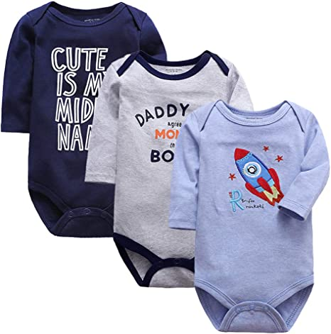 Bebé 3 Paquetes Body Niños Niñas Manga Larga Mameluco Algodón ...