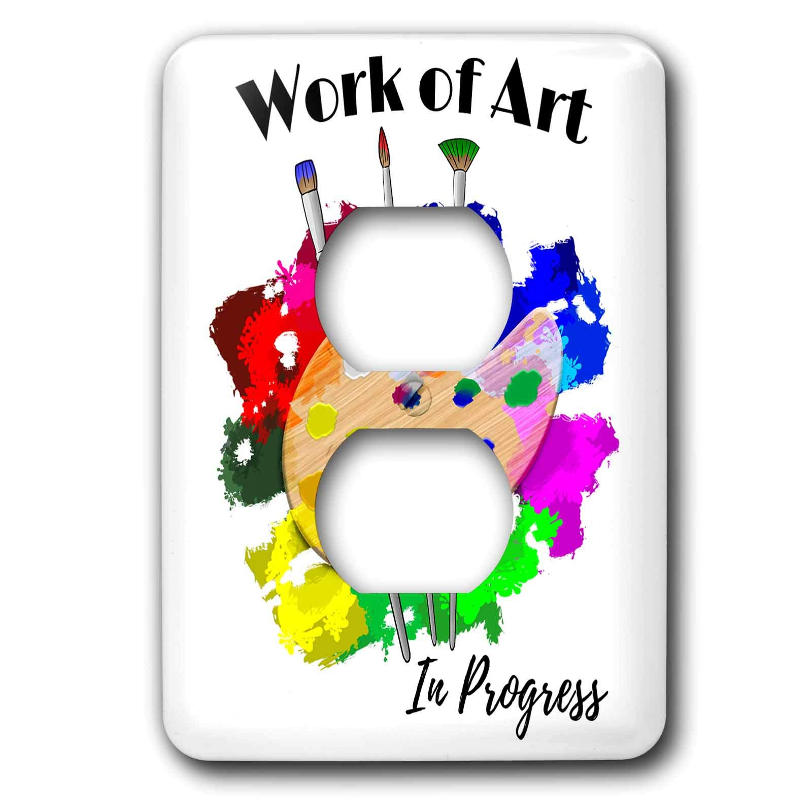 3dRose MacDonald Creative Studios – Artist - Inspirational design for artist, Work of Art in Progress. - Light Switch Covers - 2 plug outlet cover (lsp_291916_6)