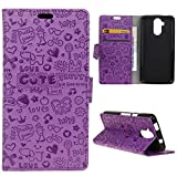 For Acer Liquid Z410 (4.5 inches) Wallet Case LEMORRY(TM) PU Leather Novelty Folio Card Slot Pouch Kick Stand Design Protective Shell Cover Holster [3D Cartoon Carving](Purple)