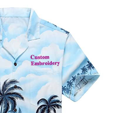 3954d9ee Made in Hawaii Men's Hawaiian Shirt Aloha Shirt Custom Embroidery S Palms  Diamond Head Edge Blue