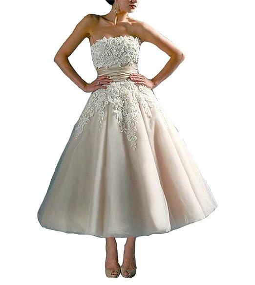 sale retailer special sales cheap for discount Isabelwedding Women's Strapless Lace Applique Sash Button Tea Length  Wedding Dress