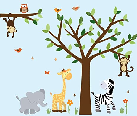 Beau Safari Pride Jungle Tree Wall Decals, Jungle Stickers With Green Leaves And  Vinyl Tree