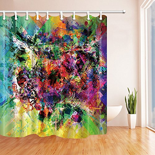 NYMB Creative Art Wall Painted Graffiti Shower Curtain 69X70 inches Mildew Resistant Polyester Fabric Bathroom Fantastic Decorations Bath Curtains Hooks Included (Multi32) (Creative Bath Graffiti)