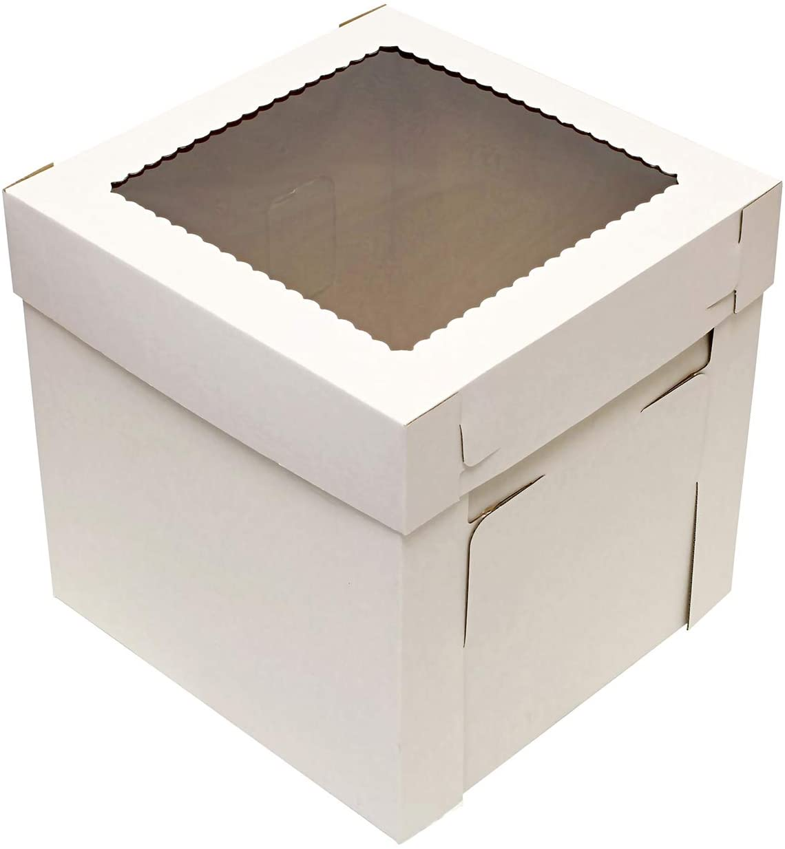 SpecialT Cake Boxes with Window 25pk 10 x 10 x 8in White Bakery Boxes, Disposable Cake Containers, Dessert Boxes