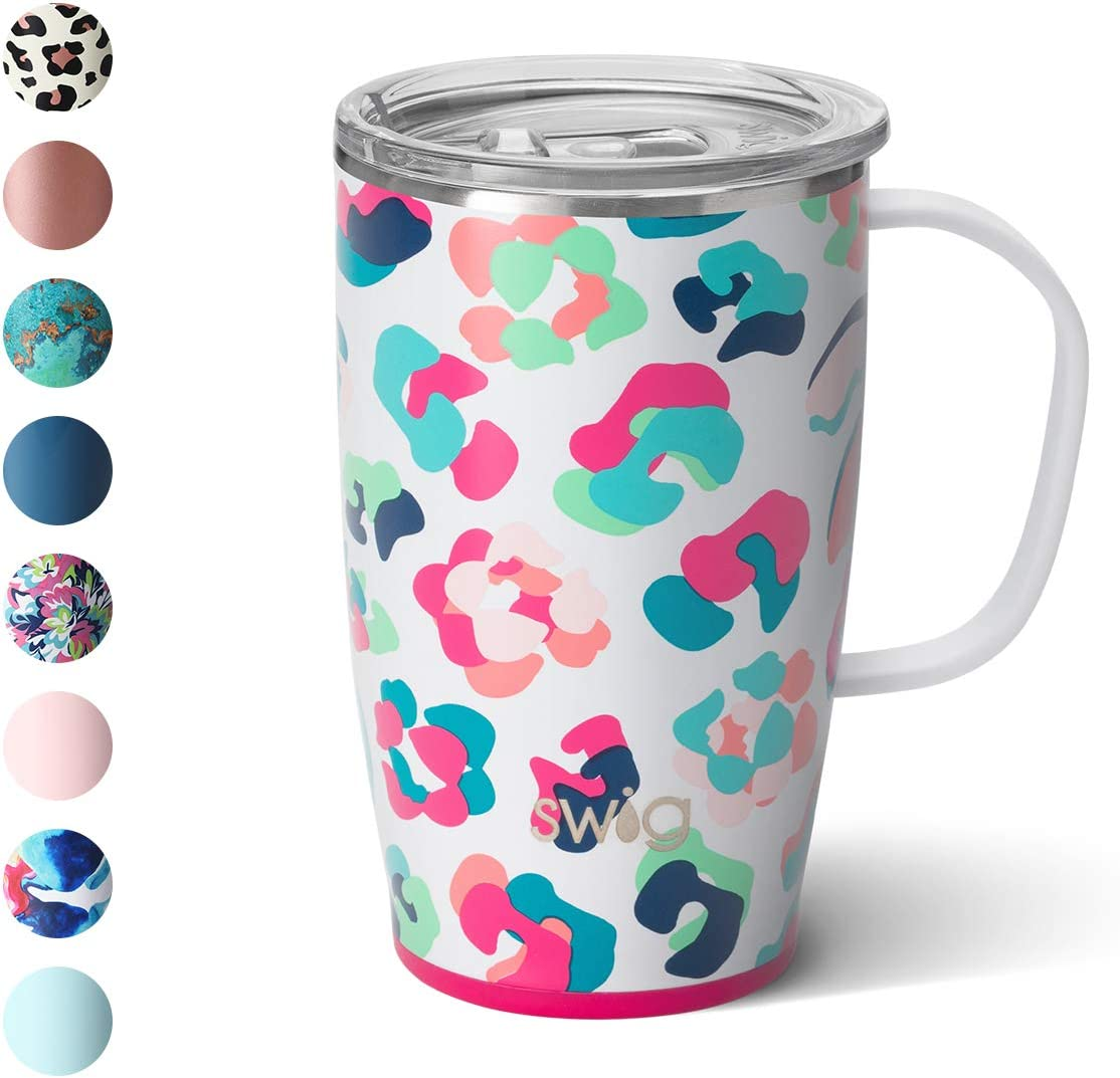 Swig Life 18oz Triple Insulated Travel Mug with Handle and Lid, Dishwasher Safe, Double Wall, and Vacuum Sealed Stainless Steel Coffee Mug in Party Animal Print (Multiple Patterns Available)