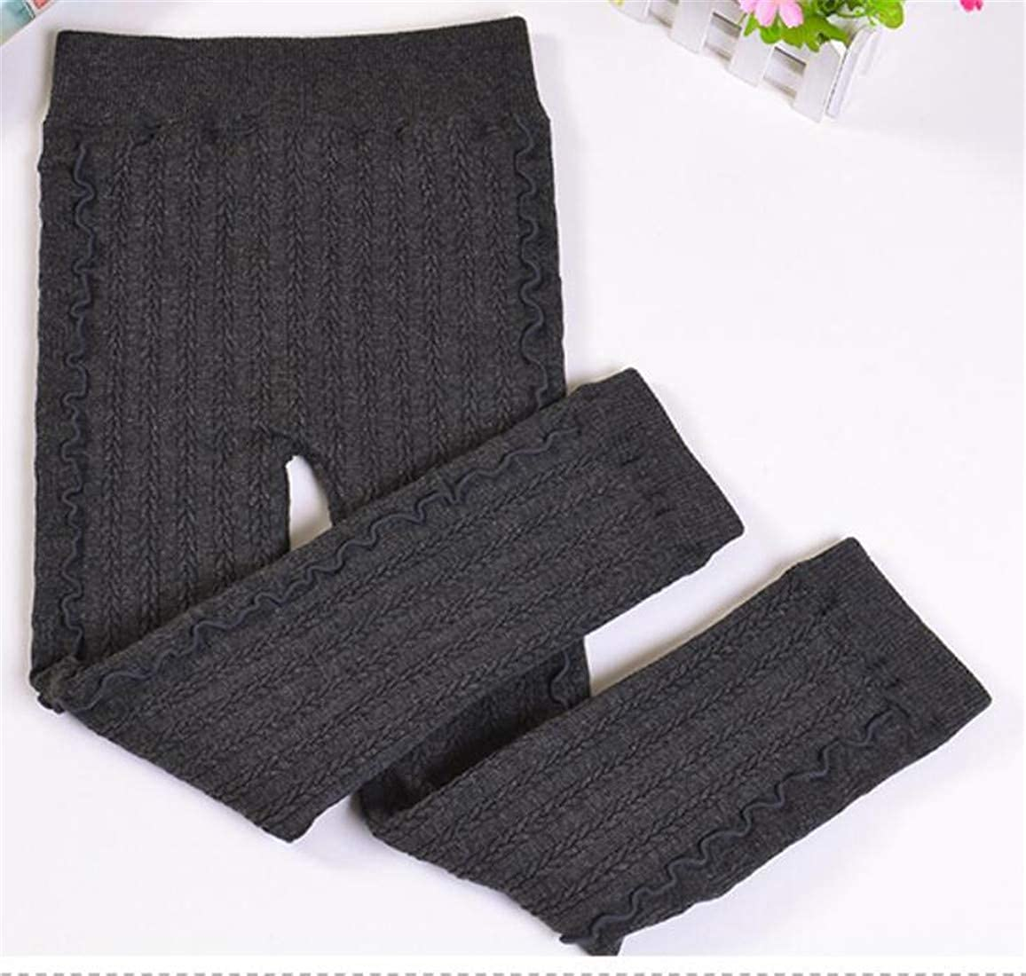 Etecredpow Girl Winter Cable Knitteed Stretch Elastic Waist Tight Falbala Leggings