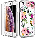 iPhone 8 Case, Clear iPhone 7 Case with Screen Protector, LUHOURI Girls Women Floral Heavy Duty Protective Hard Case with Slim Soft TPU Bumper Cover Phone Case for iPhone 8 and iPhone 7