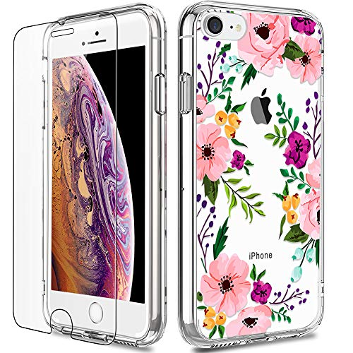 Hard Case Screen Protector - iPhone 8 Case, Clear iPhone 7 Case with Screen Protector, LUHOURI Girls Women Floral Heavy Duty Protective Hard Case with Slim Soft TPU Bumper Cover Phone Case for iPhone 8 and iPhone 7