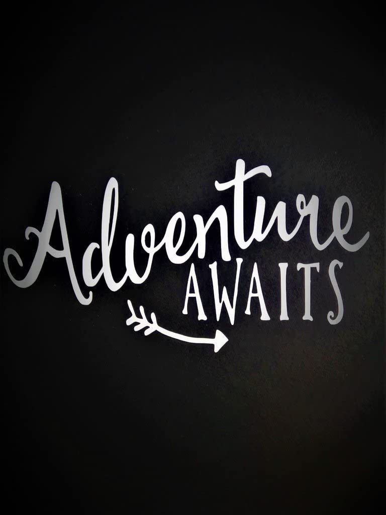 "Adventure Awaits Outdoors Hiking Camping Vinyl Decal Sticker|White|Cars Trucks Vans SUV Boats Laptops Wall Art|5.75"" X 3""