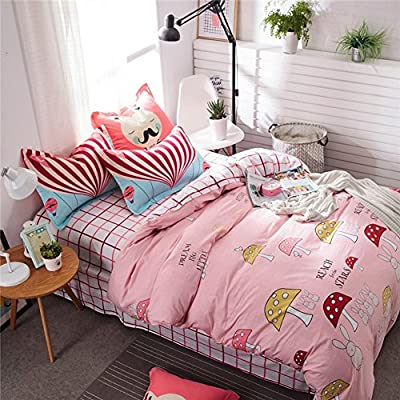 DACHUI Cotton bed sheets - 1800 beds fade, stain resistant - Hypoallergenic - 4 units (cartoon) - A Queen 2