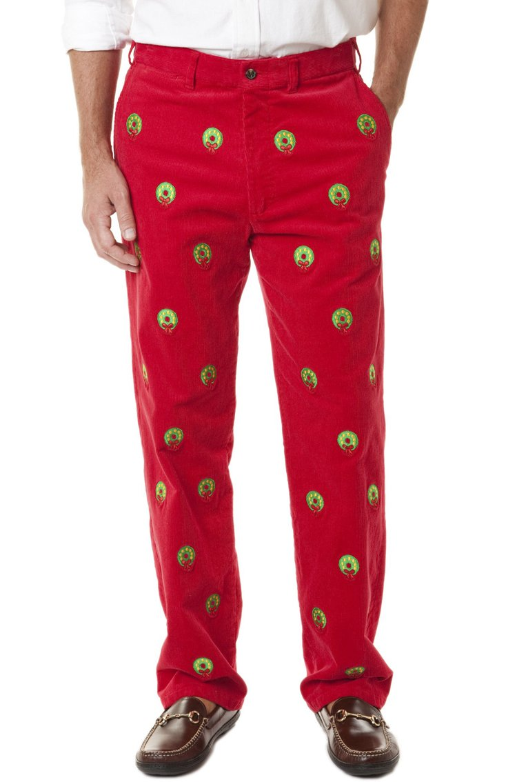 The Fine Swine Men's Castaway Embroidered Holiday Pants 44 Crimson Red With Christmas Wreath