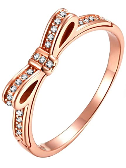 e5f5a6992 Presentski Bow Ring Rose Gold Cubic Zirconia Engagement 925 Sterling Silver  Rings for Women Girls Birthday