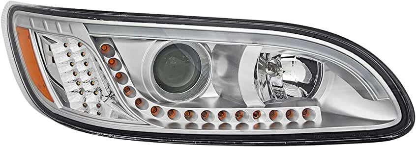 Driver Side for Peterbilt 386//387 Models GG Grand General 89452 Black Projection Headlight with LED Position